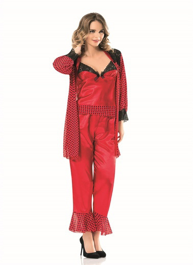 AhuLingerie Pijama Takım Kırmızı